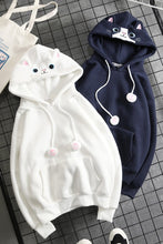 Load image into Gallery viewer, Final Stock! Navy Cute Cat Ear Hoodie Jumper SP1711293