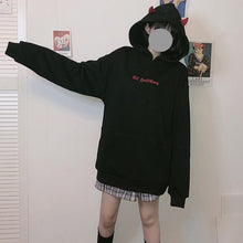 Load image into Gallery viewer, Black Little Devil Wings Oversize Hoodie SP14494