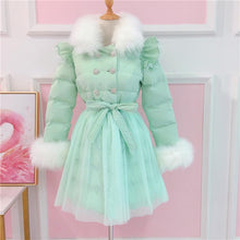 Load image into Gallery viewer, White/Pink/Green Pastel Fox Fur Coat SP14625