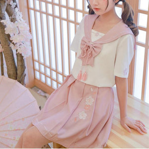 [Reservation] Kawaii Sakura Sailor Shirt/Skirt SP13725