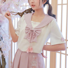 Load image into Gallery viewer, [Reservation] Kawaii Sakura Sailor Shirt/Skirt SP13725