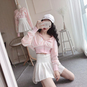 [Reservation] Pink Paillette Short Sport Hoodie Coat SP13495
