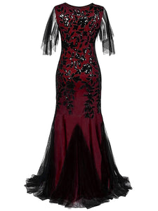 Wine Red 1920s Sequin Maxi Gowns Dress