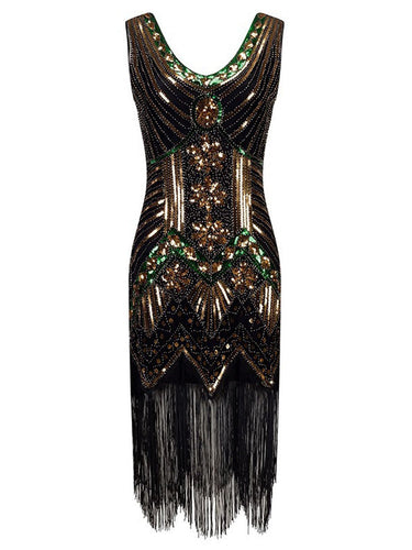 1920s Beaded Fringed Flapper Dresses