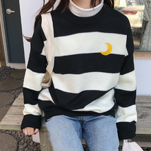 Load image into Gallery viewer, Pink/Purple/Black Kawaii Stripe Moon Sweater SP13290