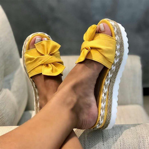 Slippers Women Summer Big Size 41 42 43 Woman Hemp Bow Flat Platform Women's Female Shoes Ladies Breathable Non Slip Footwear