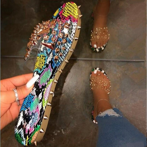 Summer Rivet Rhinestone Flip Flop Slippers Shoes Women Outdoor Beach Flat Sandals Casual Snake Pattern Open Toe Home Slippers