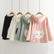 Load image into Gallery viewer, Kawaii Cat Embroidery Lace Hooded Jacket S13007