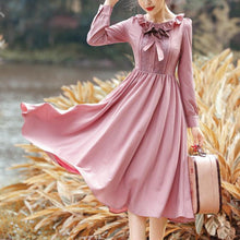 Load image into Gallery viewer, Vintage Falbala Bow Long Sleeve Dress SP14327