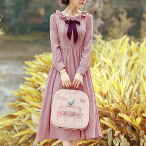 Vintage Falbala Bow Long Sleeve Dress SP14327