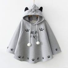 Load image into Gallery viewer, White/Grey/Black Kawaii Neko Paws Hoodie Poncho Cape S12965