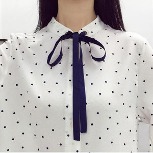 White/Grey/Pink Elegant Spot Flare Sleeve Blouse SP1710799