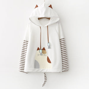 White/Grey Kawaii Cat Hoodie Jumper S12818