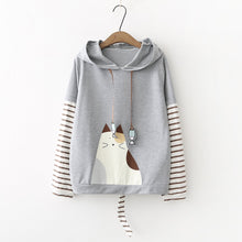 Load image into Gallery viewer, White/Grey Kawaii Cat Hoodie Jumper S12818