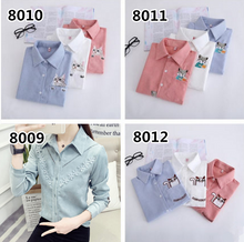 Load image into Gallery viewer, White/Pink/Blue/Green Preppy Style Corduroy Blouse SP1710781