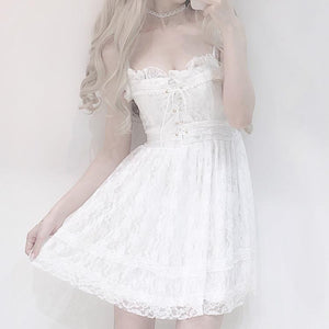 White Falbala Lace Suspender Dress SP13633