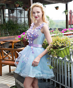 Stylish V Neck Lace Tulle Short Prom Dress, Evening Dress