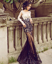 Load image into Gallery viewer, Stylish Lace Tulle Long Prom Dress, Long Sleeve Evening Dress