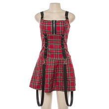 Load image into Gallery viewer, Gothic Red Plaid Sling Sleeveless Dress SP14766