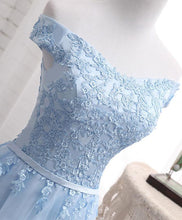 Load image into Gallery viewer, Sky Blue A Line Lace Off Shoulder Prom Dress, Lace Evening Dresses