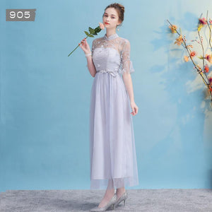Grey/Purple/Champagne Elegant Long Dress SP14594