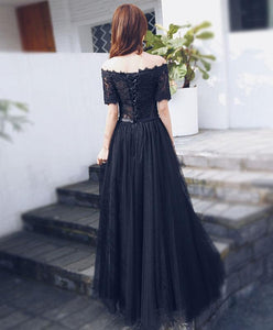 Black Lace Tulle Long Prom Dress, Short Sleeve Formal Dress