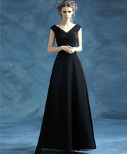 Load image into Gallery viewer, Simple Black V Neck Chiffon Long Prom Dress, Black Eveing Dress