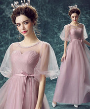 Load image into Gallery viewer, Pink Round Neck Tulle Long Prom Dress, Pink Evening Dress