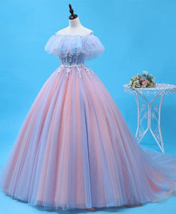 Pink Tulle Lace Long Prom Gown, Evening Dress