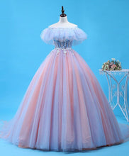 Load image into Gallery viewer, Pink Tulle Lace Long Prom Gown, Evening Dress