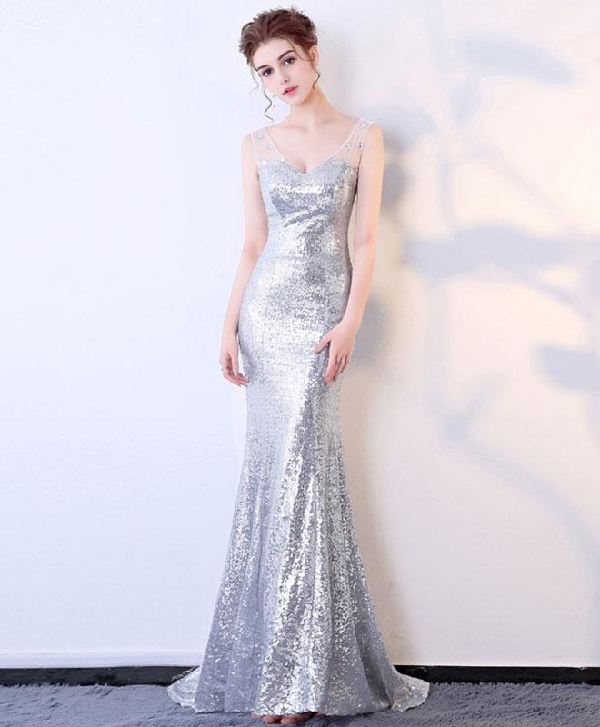 Silver Sequins V Neck Long Prom Dress, Mermaid Evening Dress