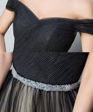 Load image into Gallery viewer, Black Tulle V Neck Long Prom Gown, Black Evening Dress
