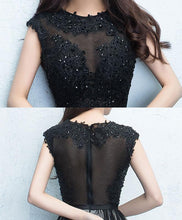 Load image into Gallery viewer, Black Round Neck Lace Tulle Short Prom Dress, Black Evening Dress