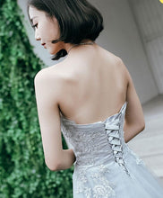 Load image into Gallery viewer, Gray Tulle Lace Long Prom Dress, Lace Evening Dress