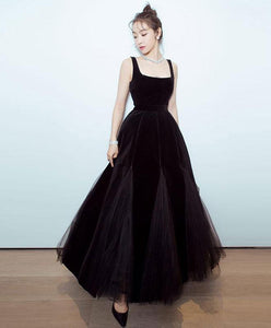 Black Velvet Tulle Tea Length Prom Dress, Black Evening Dress