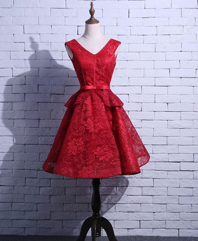 Red V Neck Lace Short Prom Dress, Homecoming Dress