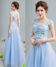 Load image into Gallery viewer, Sky Blue Lace Tulle Long Prom Dress, Lace Evening Dress