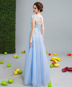 Sky Blue Lace Tulle Long Prom Dress, Lace Evening Dress