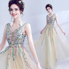 Load image into Gallery viewer, Light Champagne Tulle Long Prom Dress, Evening Dress