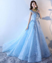 Load image into Gallery viewer, Light Blue Lace Tulle Long Prom Dress, Lace Evening Dress