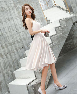 Simple V Neck Champagne Evening Dress, Evening Dress