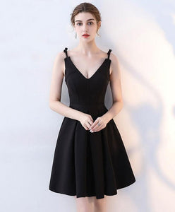 Simple Black V Neck Short Prom Dress, Homecoming Dress