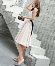 Load image into Gallery viewer, Simple V Neck Champagne Evening Dress, Evening Dress