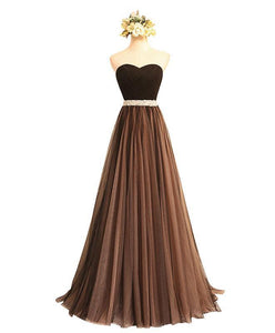 Black Sweetheart Neck Long Prom Dress, Black Evening Dress