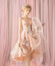 Load image into Gallery viewer, Pink Tulle Lace Short Prom Dress, Homecoming Dress