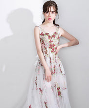 Load image into Gallery viewer, White A Line Lace Tulle Floor Length Prom Dress, White Evening Dress