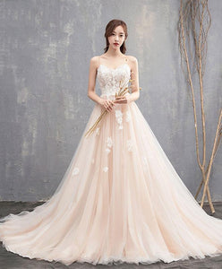 High Quality Champagne Long Prom Dress With Long Train, Lace Evening Dress