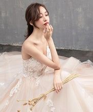 Load image into Gallery viewer, High Quality Champagne Long Prom Dress With Long Train, Lace Evening Dress