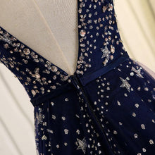 Load image into Gallery viewer, Blue Beaded Sequins Long Prom Dress, Blue Evening Dress