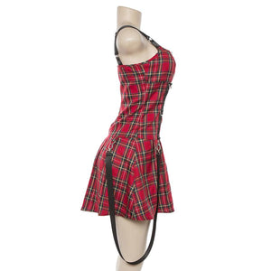 Gothic Red Plaid Sling Sleeveless Dress SP14766